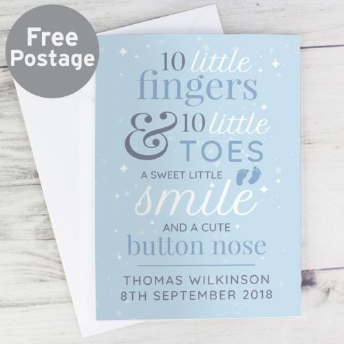'10 Little Fingers' Blue Baby Card